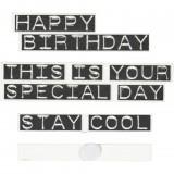 Holzschildchen mit Klebepunkt, Happy Birthday