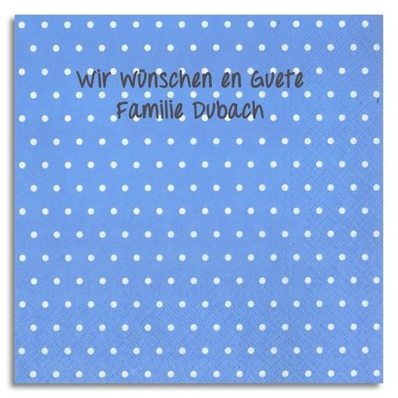 Punkt-Servietten blau mit Handschrift, inkl. Druck