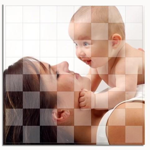 Schachspiel mit Fotodruck auf massivem Spielbrett
