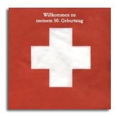Schweizer Fahne Servietten, inkl. Druck