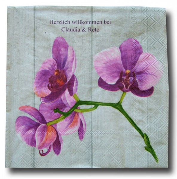 Orchidee violett Servietten, inkl. Druck