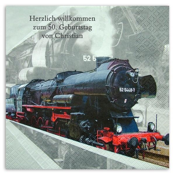 Lokomotive Servietten, inkl. Druck