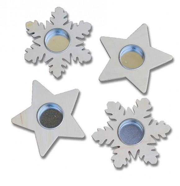 Teelichter in Schneeflocken- und Sternform Holz