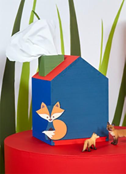 Kleenex-Spender Haus aus Holz zum bemalen, Kosmetiktuchbox
