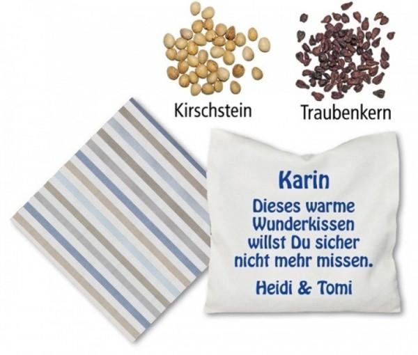 blau weisses Foto Kirsch oder Traubenkern Kissen inkl. Druck