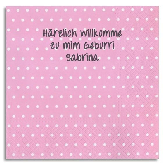 Punkt-Servietten rosa mit Handschrift, inkl. Druck
