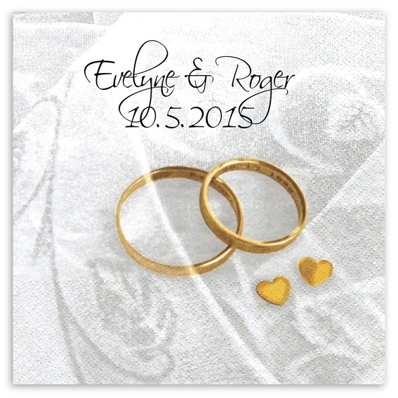 Hochzeitsringe Serviette, inkl. Druck Scriptina Schriftart