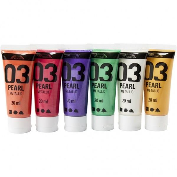 Pearl Metallic Acryl Farben 6x20ml