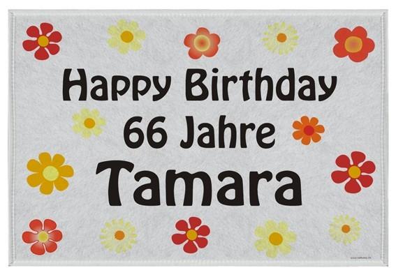 Fussmatte Geburtstag / Blumen inkl. Druck