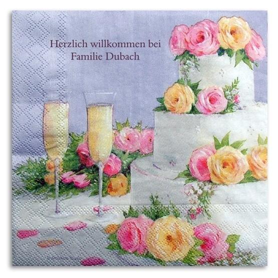 Torte mit Blumen Serviette, inkl. Druck