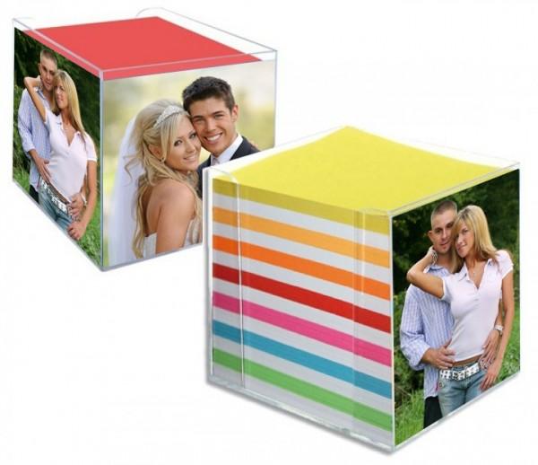 Foto Notizblock bunt/weiss inkl. 3 verschiedene Bilder auf alle 3 Seiten