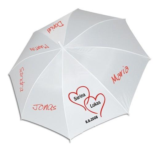 Weisser Schirm Ø100cm mit Herz Nr. 4