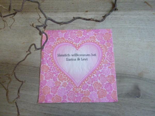 Herz auf Rosen Serviette, inkl. Druck