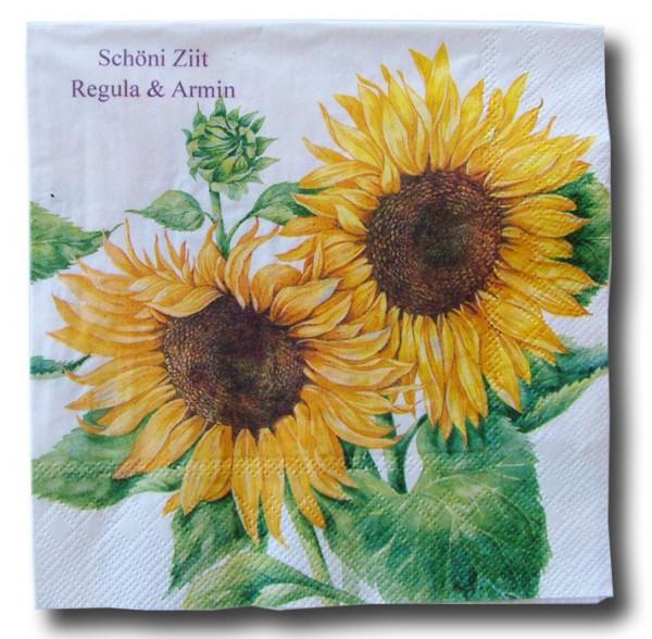 Sonnenblumen Servietten, inkl. Druck