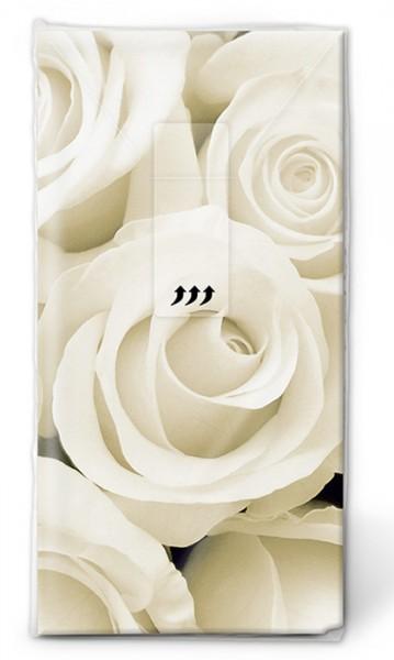 Papiertaschentuch 'weisse Rosen'