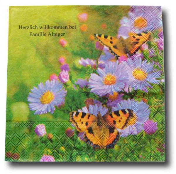 Aster + 2 Schmetterlinge Serviette, inkl. Druck
