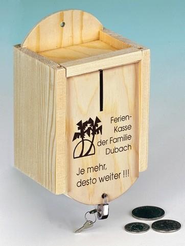 """Holz Sparkasse """"Ferien"""" inkl. Schloss persönlicher Text"""