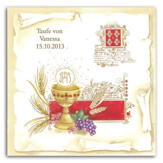 Kelch + Wappen Servietten, inkl. Druck