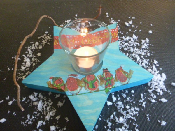 Massivholz-Stern Teelicht zum bemalen
