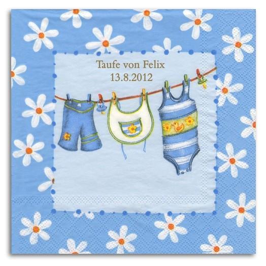 Babywäsche blau Servietten, inkl. Druck