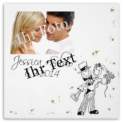 Serviette zur Hochzeit mit Hochzeitspaar