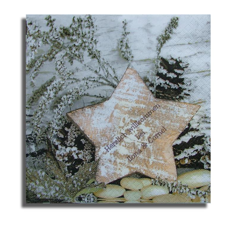 wooden star servietten inkl druck weihnachten. Black Bedroom Furniture Sets. Home Design Ideas