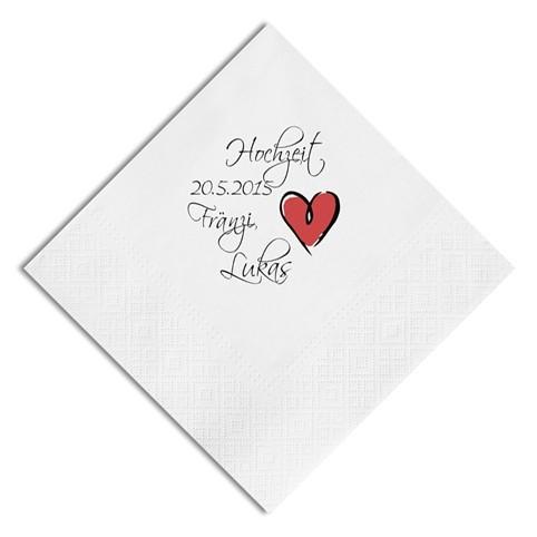 Herz Nr. 11 Hochzeit-Servietten, inkl. Druck