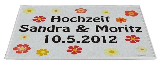 Fussmatte Hochzeit / Blumen inkl. Druck