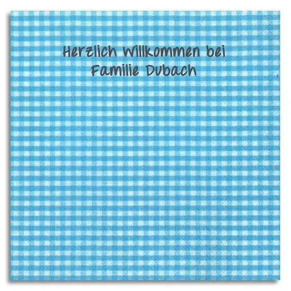 Karo-Servietten hellblau mit Handschrift, inkl. Druck