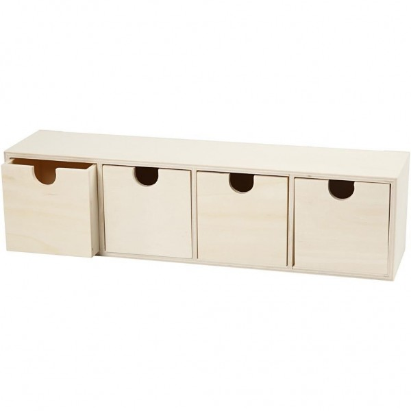 Box mit 4 Schubladen Holz
