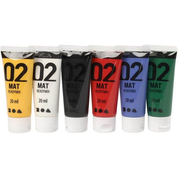 6er Set gut deckende Acrylfarbe Inhalt je 20ml
