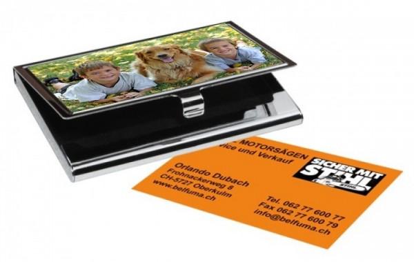 Visitenkarten etui aus metall inkl fotodruck - Metall visitenkarten ...