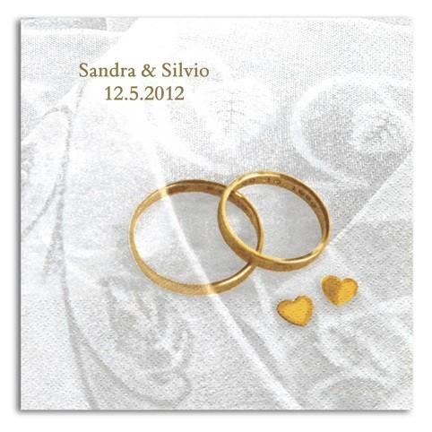 Hochzeits-Ringe Servietten, inkl. Druck