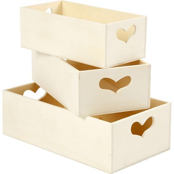 Aufbewahrungsboxen 3er Set mit Herz