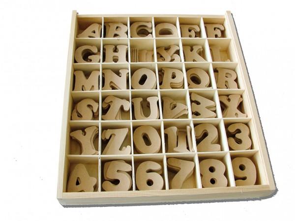 Holzbuchstaben und Zahlen 288 Stk.