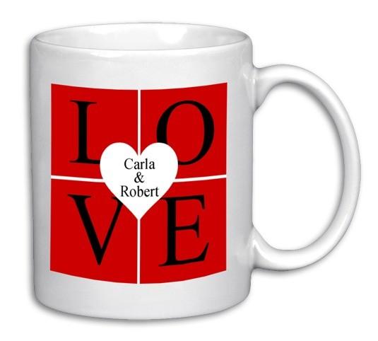 LOVE Tasse mit Herz und gewünschten Druck