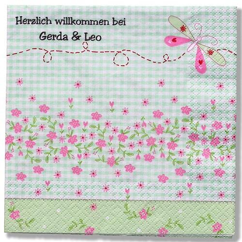 rosa/grüner Schmetterling mit Karomuster, inkl. Druck