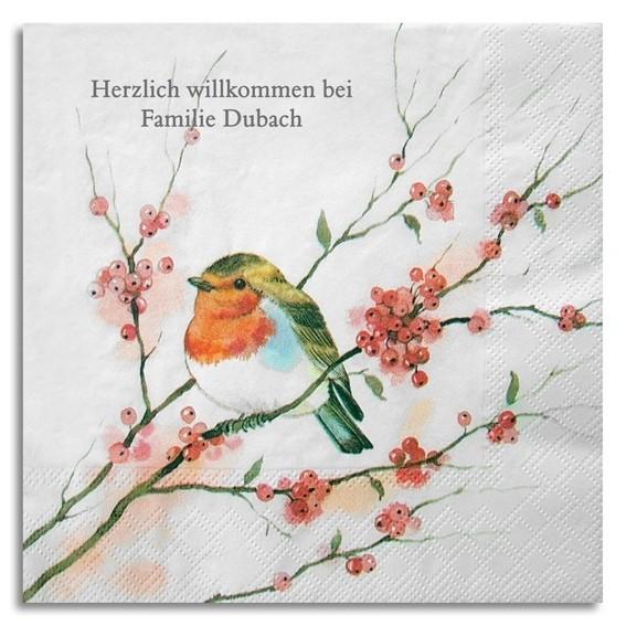 Vogel auf Blütenast Serviette, inkl. Druck