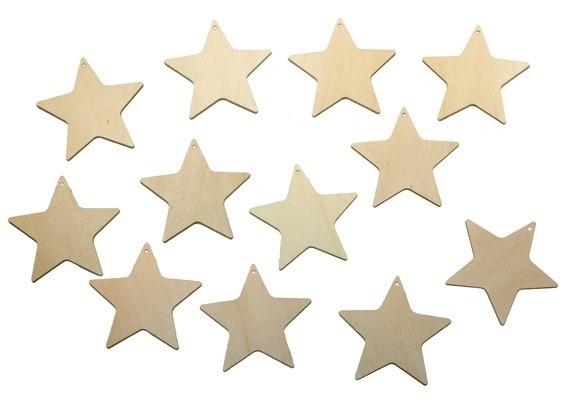 12er Set Sterne aus Sperrholz Ø 5cm