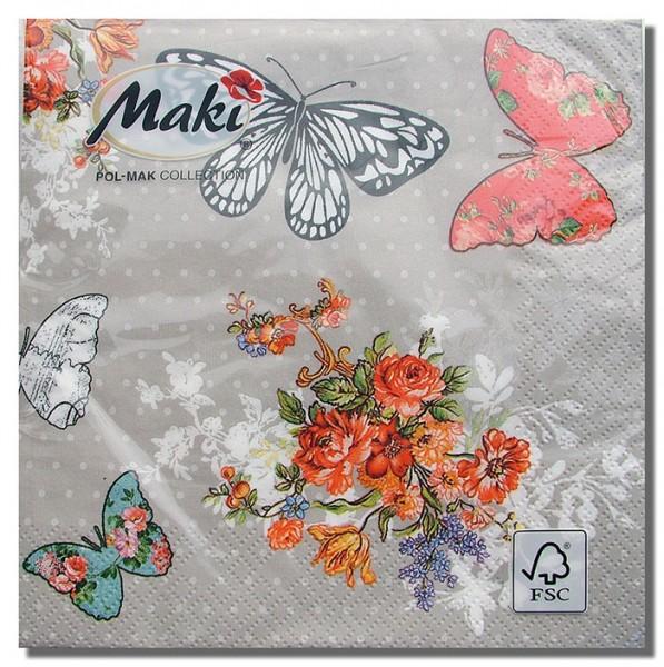 Schmetterlinge Vintage Servietten, ohne Druck