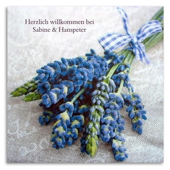 Strauss blaue Blume Serviette, inkl. Druck
