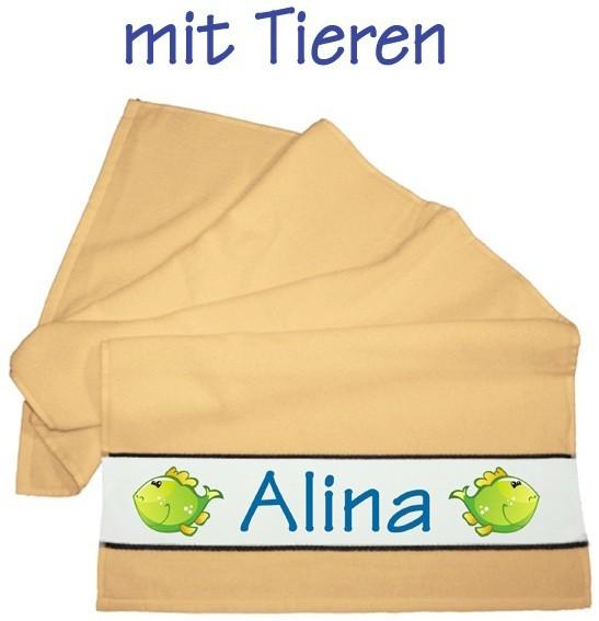 Flauschiges Badetuch gelb, KLEIN inkl. Namen