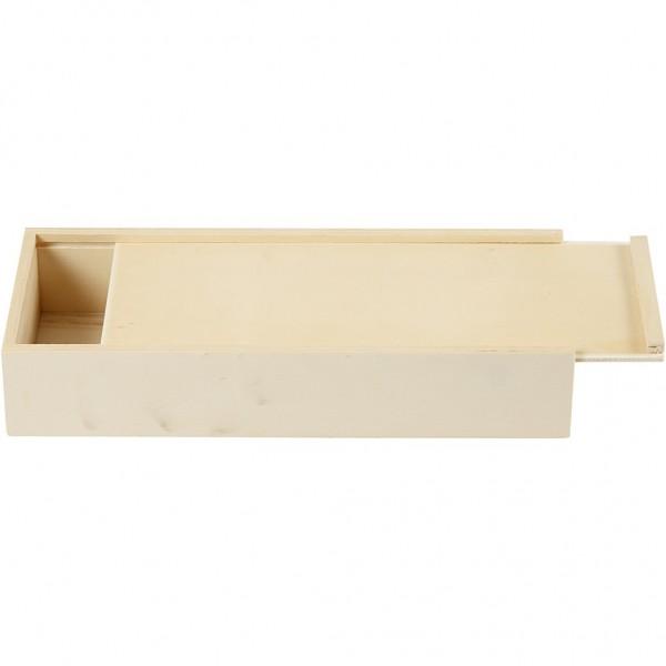 Stiftebox Holz, rechteckiger Holzkasten mit Schiebedeckel