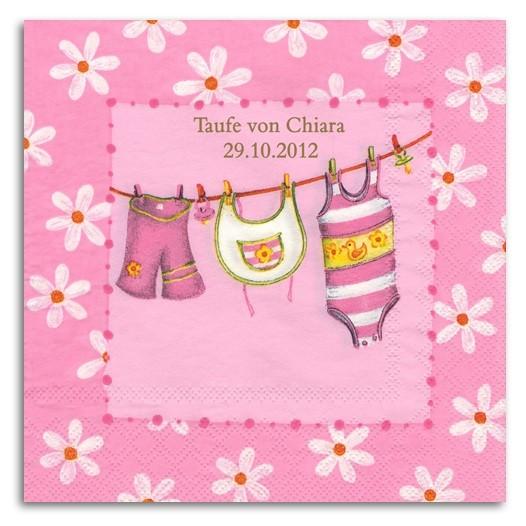 Babywäsche rosa Servietten, inkl. Druck