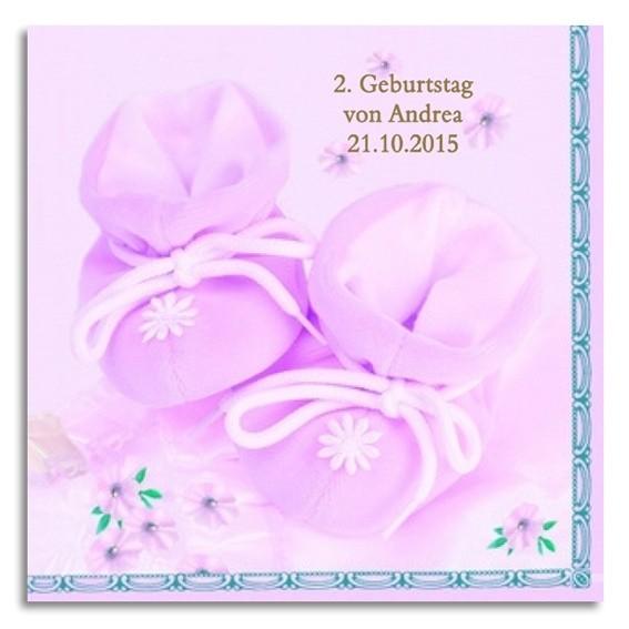 rosa Babyschuhe Servietten, inkl. Druck