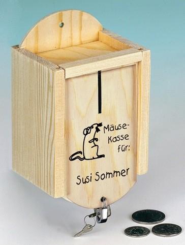 "Holz Sparkasse ""Mäuse"" inkl. Schloss persönlicher Text"