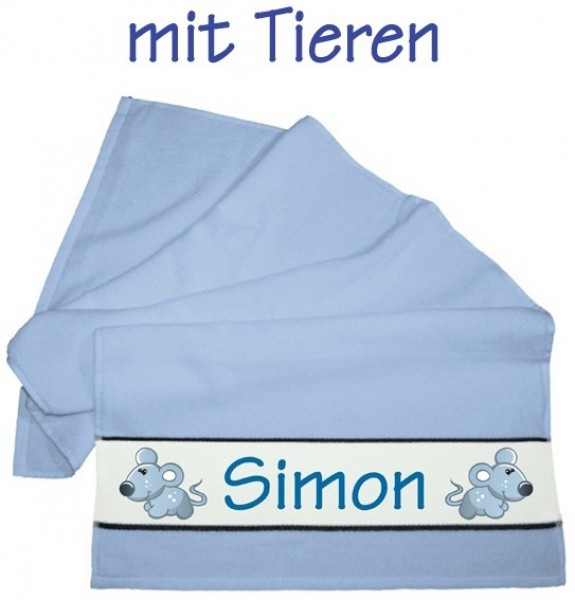 Flauschiges Badetuch hellblau, KlEIN inkl. Namen